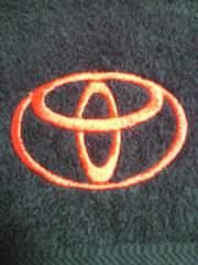 トヨタ自動車 TOYOTA エンブレム マーク 刺繍 バスタオル ブラック