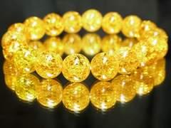 富と繁栄をもたらす!!シトリンクラック10ミリ数珠ブレスレット
