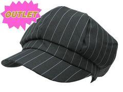 OUTLET コットン 混 ストライプ キャスケット Cap 帽子 黒 M710