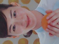 綾瀬はるか クリアファイルA4サイズ オレンジを持つ正面顔柄 ノベルティ