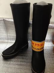 婦人ラバーレインブーツ長靴 ▲直倉 黒無地M 23-23.5cm 3503R