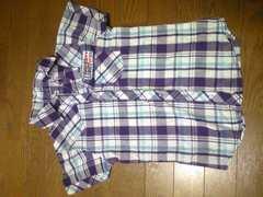 シャツ/半袖/チェック柄/140/ハートのボタン