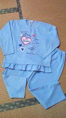 サイズ130春秋用長袖長ズボンパジャマ水色