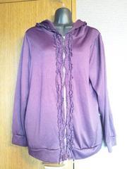 L×紫×フリル×ポケット付きパーカー