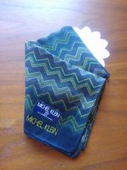新品♪ミッシェルクラン・ハンカチ(メンズにも)織り模様・美品ブルーミング中西