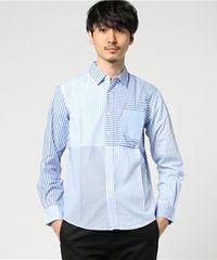 新品/80%OFF/ナノユニバース/マルチストライプシャツ/ブルー/M