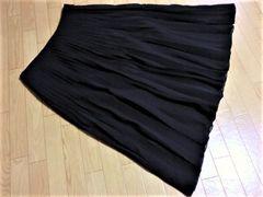 ミッシェルクラン/MICHEL シフォンプリーツ膝丈フレアスカート黒