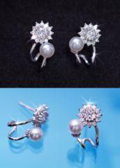 ダイヤモンド0.6ct&真珠5�o玉■ダイヤ&パール ピアス■