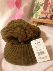 2083・編み柄が可愛いニット帽キャップ・カーキ