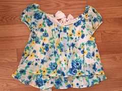 シフォンフラワー花柄半袖Tシャツトップスイングリエンダ好きにバックリボン