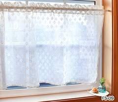 レースファブリックカフェカーテン キッチン小窓 棚の目隠し