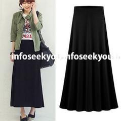 6L大きいサイズ/シンプルAラインロングスカート/黒
