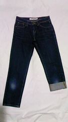 ユニクロスキニーフィットタイト7分丈綿デニム2WAYロールアップカプリパンツ青 W56