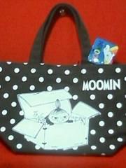 ムーミントートバッグ(S)茶ミー&ムーミンファミリー柄内ポケット付Moomin