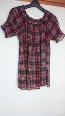 半袖 チュニック 赤×黒 チェック シースルー L N2m