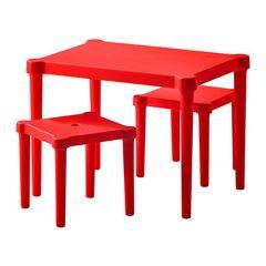 IKEA☆新品☆子供用テーブル&スツール2脚☆赤