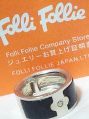 フォリフォリ【Folli Follie】 925シルバー〈オニキス/ジルコニア〉リング 13号