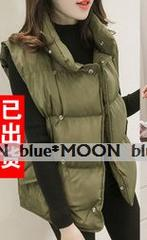 【3L】大きいサイズ!*襟付き カジュアルベストジャケット/緑