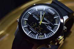 SEIKOアナデジPULSARセイコーMarine Black100M腕時計