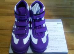 ★アシックス 安全靴 ウィンジョブ FIS42S 27.5cm 紫Xホワイト 新品
