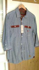 【新品未使用タグ付き】ILLS*八分袖ダンガリーシャツ…XL◆女性にも♪