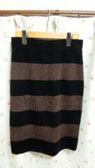セレクトショップ購入*cloche/クロチェ★ボーダータイトスカート☆ブラック×ブラウン♪