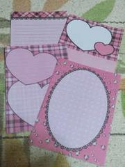 【バラ売り】ハガキサイズ メモ帳 4種類×5枚 ピンクハートチェック