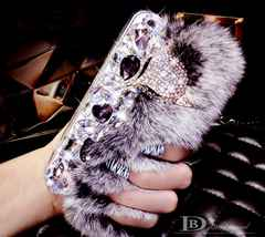 ★ iphone6 モコモコファー ラインストーン キラキラ ダイヤモンド 2色