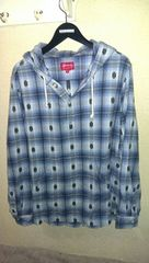 14AW SUPREME Shadow Plaid Hooded Shirt M