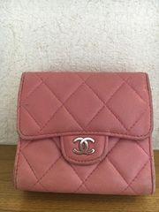 シャネル本物 マトラッセ両面短コンパクト財布pink