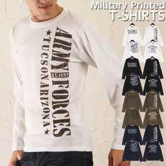 新品☆ミリタリーロゴ ロングTシャツ/選べる4カラー M&L 長袖
