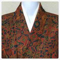 正絹 袷 広襟 赤色系 多彩染め 更紗模様 美品 中古品