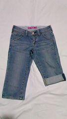 ユニクロ・Style Upブリーチデニムカプリクロップドパンツロールアップハーフ 青W56