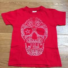 かっこいい!スカル柄Tシャツ 赤120