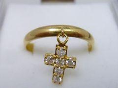 K18 クロス 十字架 0.22ct ダイヤモンドリング 12号 指輪
