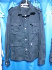 ミリタリーシャツ◇ブラック◇Lサイズ