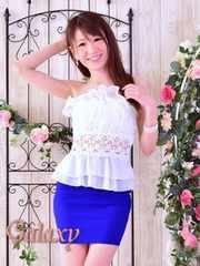0208★胸元シフォンプリーツ&フロントレース魅せペプラムミニドレス*ブルー