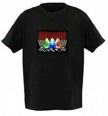M〜XL 新品 光るTシャツ 黒 ELTシャツ LEDTシャツ