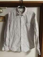 フォーエバー21 メンズ シャツ 美品 チェック柄 ホワイト 長袖