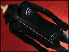 ライン使い刺繍ミリタリーシャツ/ブラック/L