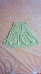 古着:サイズ90:ぶたさん刺繍柄ベロア生地ロングスカート