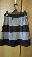 送込♪スエット布地=黒×グレーボーダースカート♪M
