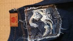 REDMONKEY和柄刺繍デニムハーフパンツ   36ネイビー