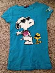 RONI・スヌーピープリント柄半袖Tシャツ・ブルーL