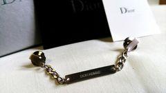 正規新古レア ディオールオム Dior HOMME ロゴチェーンプレートブローチ シルバー