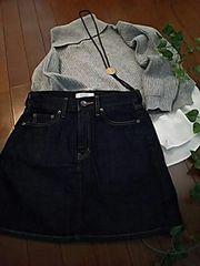 〇LOWRYS FARM〇インディゴデニム膝丈スカート*・゜美品