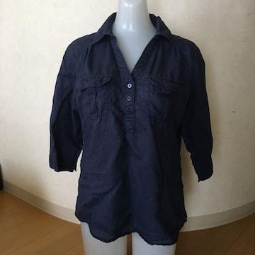 モバオク:洗濯機 ショップチャンネル 麻シャツ 紺色 S