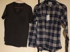 2点セット VネックTシャツ チェックシャツ M 送料無料