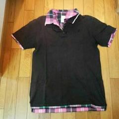 黒ピンク緑チェックポロシャツ クローバー