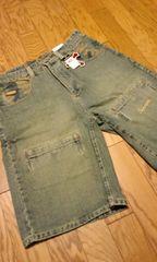 FARSCAPE デザイン迷彩柄ポケットハーフデニム 6ポケット W36 ウエスト94cm